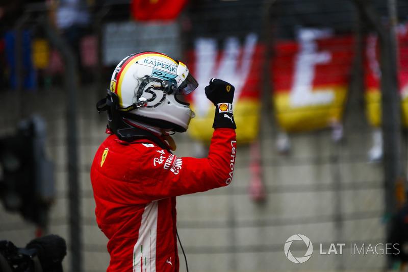 Sebastian Vettel, Ferrari, celebrates pole