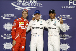 Top3 after qualifying: Pole position for Valtteri Bottas, Mercedes AMG F1, second place Lewis Hamilton, Mercedes AMG F1, third place Sebastian Vettel, Ferrari