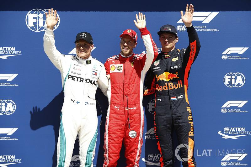 Top three Qualifiers Sebastian Vettel, Ferrari, Valtteri Bottas, Mercedes AMG F1, and Max Verstappen, Red Bull Racing