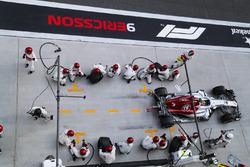 Marcus Ericsson, Sauber C37 Ferrari, leaves his pit box after a stop