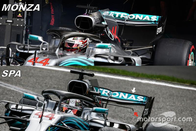 Comparaison des ailerons arrière de la Mercedes W09