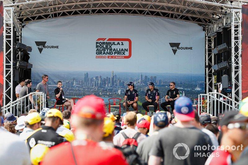 Sergio Perez, Racing Point, Lance Stroll, Racing Point, et Valtteri Bottas, Mercedes AMG F1