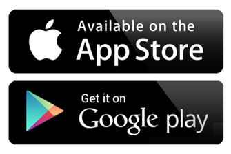 Loghi App Store e Google Play