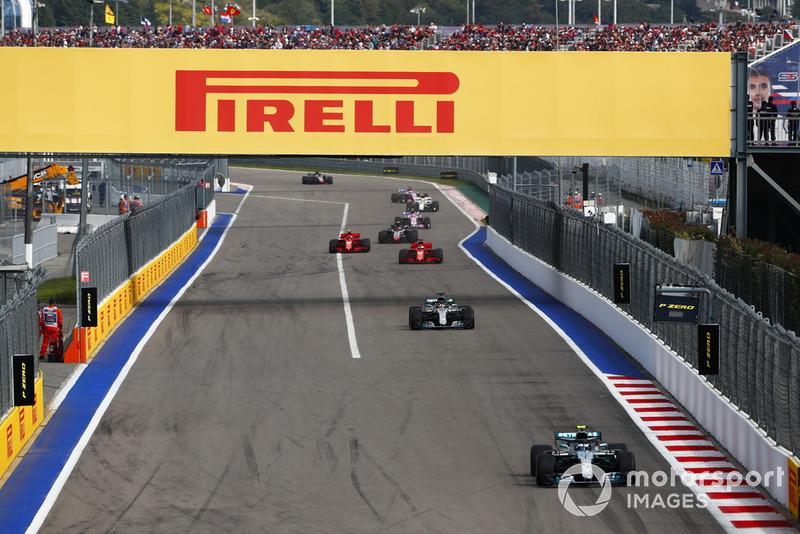 Esta era la ventaja de Bottas en las primeras vueltas. Cómodo liderato