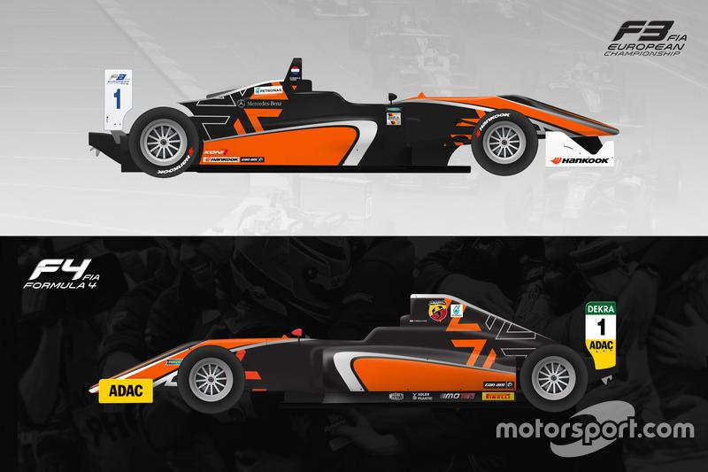 Van Amersfoort Racing kleurenschema's Formule 3 en Formule 4