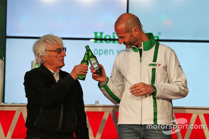 (L to R): Bernie Ecclestone, and Gianluca di Tondo, Heineken Global Head of Brand, at a Heineken sponsorship announcement