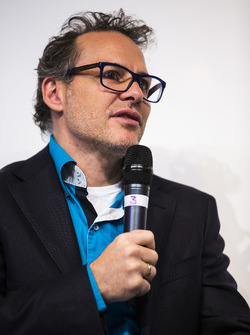 Jacques Villeneuve is interviewed on the Autosport stage