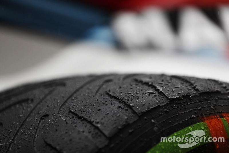 Wet weather Pirelli tyre detail