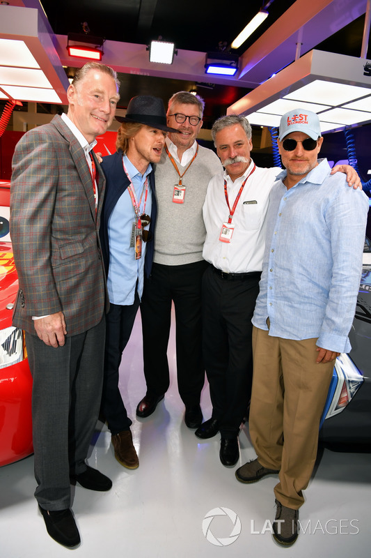 Sean Bratches, Formula One director comercial,, Owen Wilson, ACtor, Ross Brawn, Formula One Director