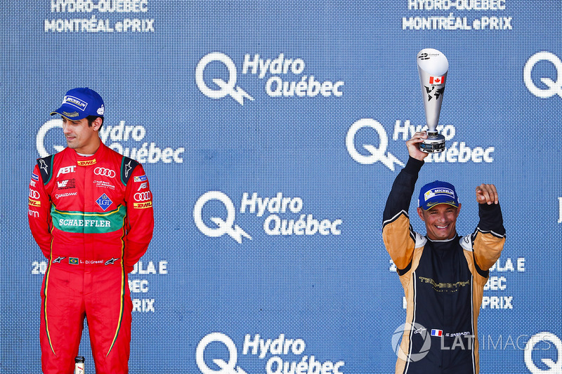 Lucas di Grassi, ABT Schaeffler Audi Sport, celebra en el podio con Stéphane Sarrazin, Techeetah