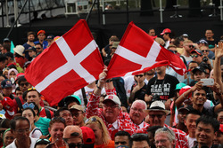 Fans and Danish flags
