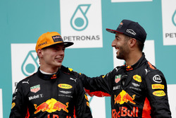 Max Verstappen, Red Bull Racing, race winner, Third place Daniel Ricciardo, Red Bull Racing, on the podium