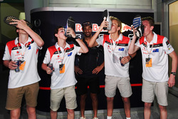 F1 in Schools winners celebrate, a Shoey and Daniel Ricciardo, Red Bull Racing