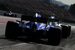 Lewis Hamilton, Mercedes AMG F1 W08 leads Marcus Ericsson, Sauber C36