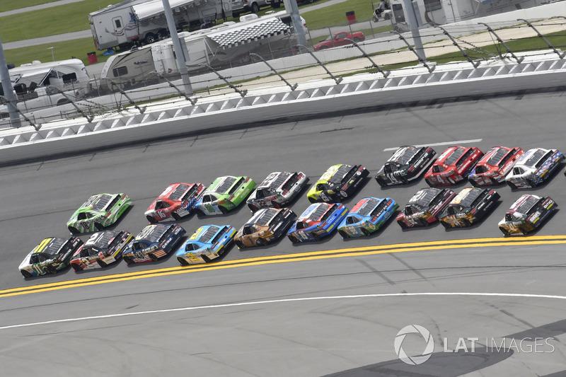 Blake Koch, Kaulig Racing Chevrolet, Daniel Suárez, Joe Gibbs Racing Toyota, Ben Kennedy, GMS Racing Chevrolet, Brennan Poole, Chip Ganassi Racing Chevrolet