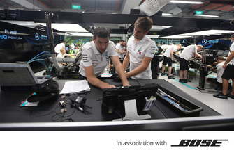 Bose, Mercedes AMG F1 team members at work