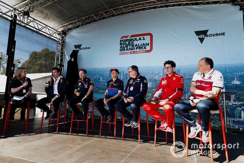 Toto Wolff, directeur exécutif, Mercedes AMG, Christian Horner, Team Principal, Red Bull Racing, Franz Tost, Team Principal, Toro Rosso, Otmar Szafnauer, Team Principal, Racing Point, Mattia Binotto, Team Principal Ferrari et Frederic Vasseur, Team Principal, Alfa Romeo Racing