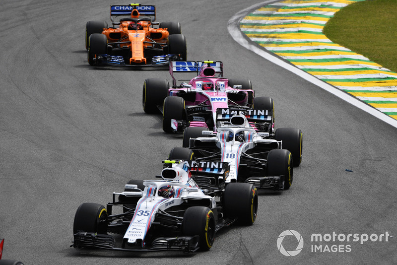 Sergey Sirotkin, Williams FW41, Lance Stroll, Williams FW41, Esteban Ocon, Racing Point Force India VJM11, Stoffel Vandoorne, McLaren MCL33