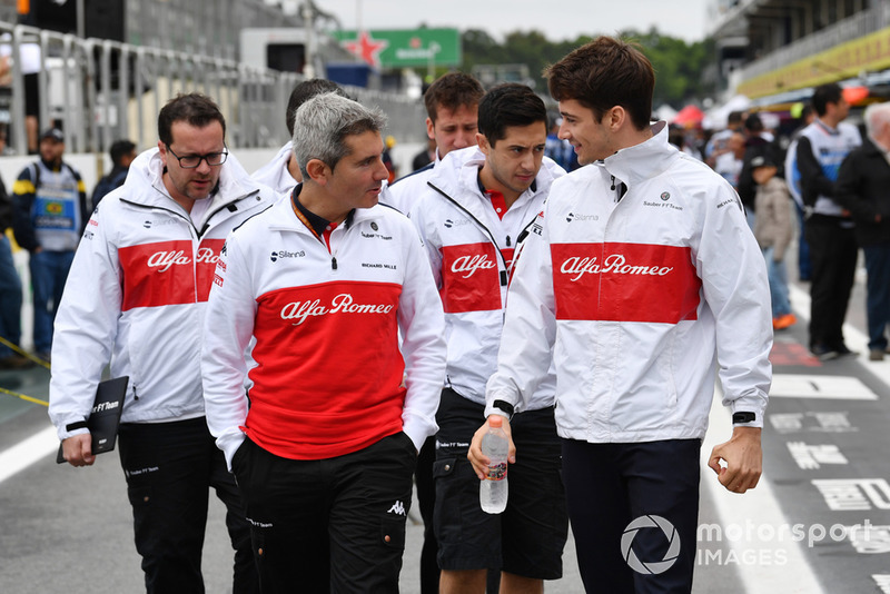 Charles Leclerc, Sauber and Xevi Pujolar, Sauber Head of Track Engineering