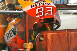Marc Marquez, Repsol Honda Team, showing new aerodynamic fairing/wing after a crash