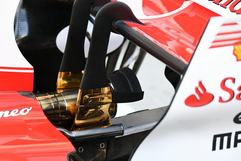 Detalle del escape del Ferrari SF70H