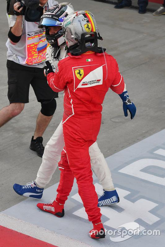 Sebastian Vettel, Ferrari and Valtteri Bottas, Mercedes AMG F1