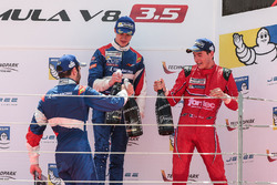 Podium: race winner Egor Orudzhev, SMP Racing by AVF, second place Matevos Isaakyan, SMP Racing by A