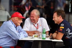 Niki Lauda, Mercedes AMG F1 Fahri Direktörü, Dr Helmut Marko, Red Bull Racing Danışmanı ve Christian Horner, Red Bull Racing Takım Patronu