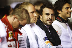 Fernando Alonso, McLaren, during the national anthem