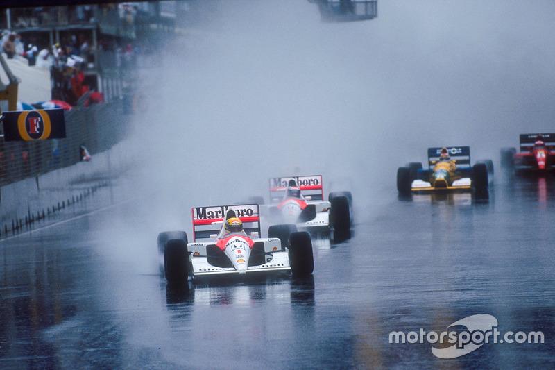 Start: Ayrton Senna, McLaren MP4/6 Honda; Gerhard Berger, McLaren MP4/6 Honda; Nelson Piquet, Benetton B191 Ford; Jean Alesi, Ferrari 643