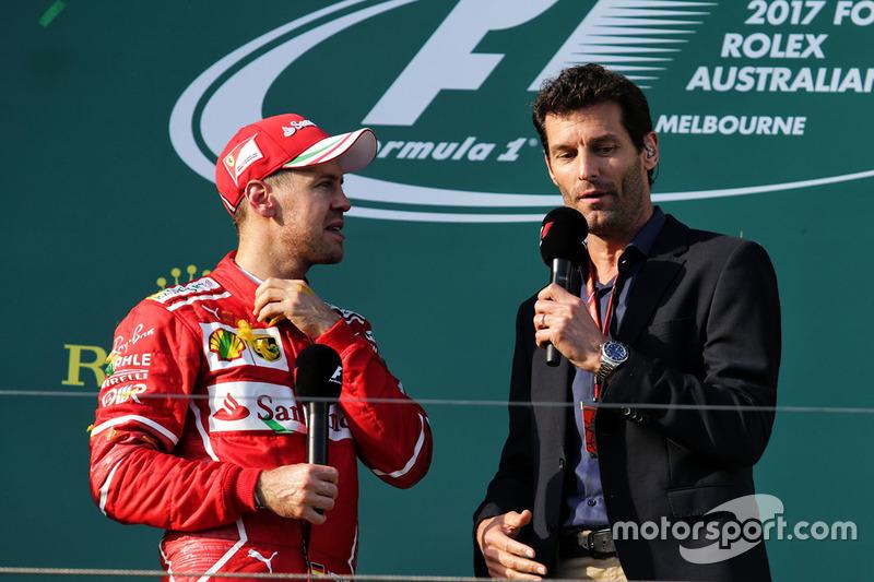 Sebastian Vettel, Ferrari; Mark Webber