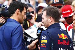 Ведущий Channel 4 Марк Уэббер и руководитель Red Bull Racing Кристиан Хорнер