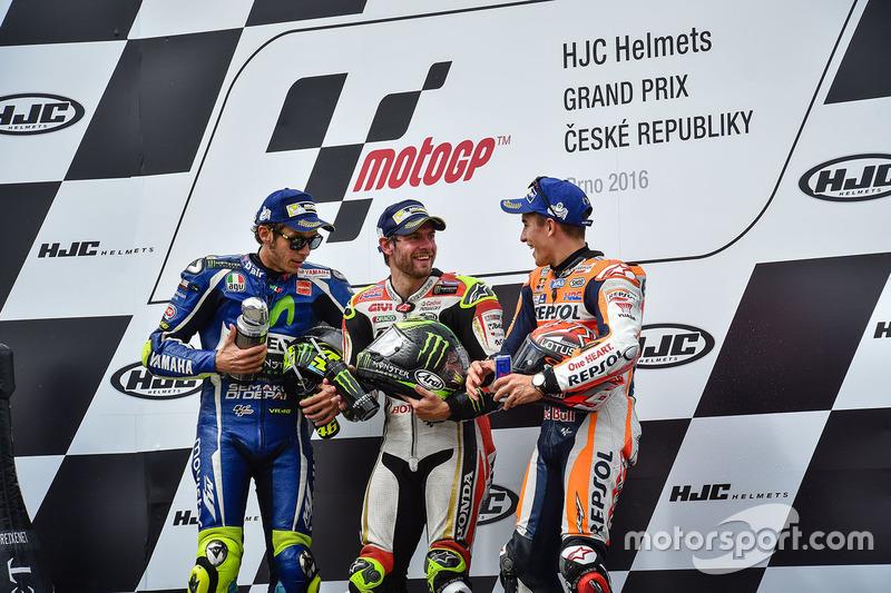 Podio: Cal Crutchlow, Team LCR Honda, Valentino Rossi, Yamaha Factory Racing, Marc Márquez, Repsol Honda Team