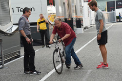 Gene Haas, Founder and Chairman, Haas F1 Team on a bike