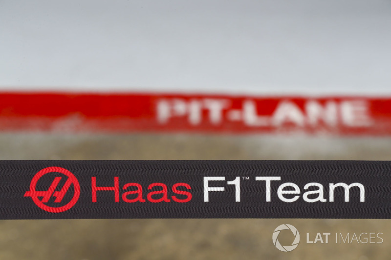 The Haas F1 Team's logo in their pit