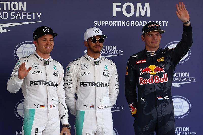 Qualifying: 2. Nico Rosberg, Mercedes AMG F1; 1. Lewis Hamilton, Mercedes AMG F1; 3. Max Verstappen, Red Bull Racing