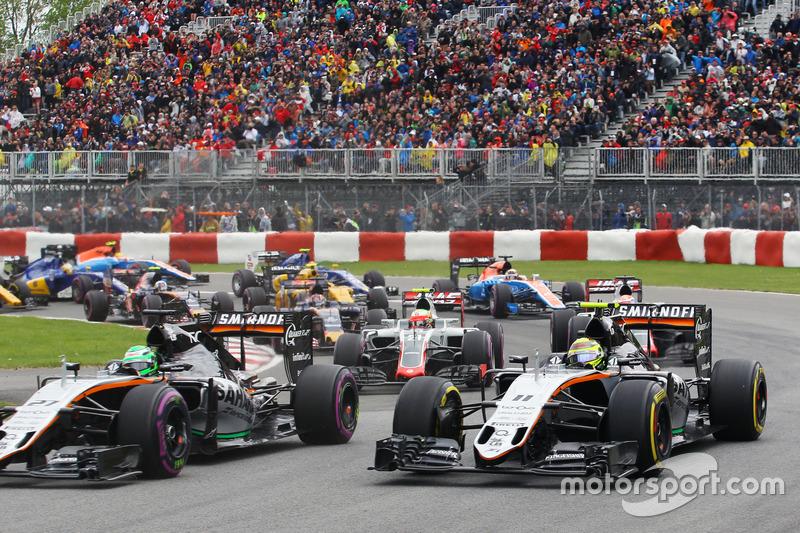 Ніко Хюлькенберг, Sahara Force India F1 VJM09 та Серхіо Перес, Sahara Force India F1 VJM09 на старті
