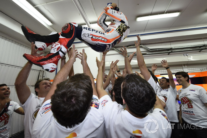 World champion Marc Marquez, Repsol Honda Team celebrate with the team