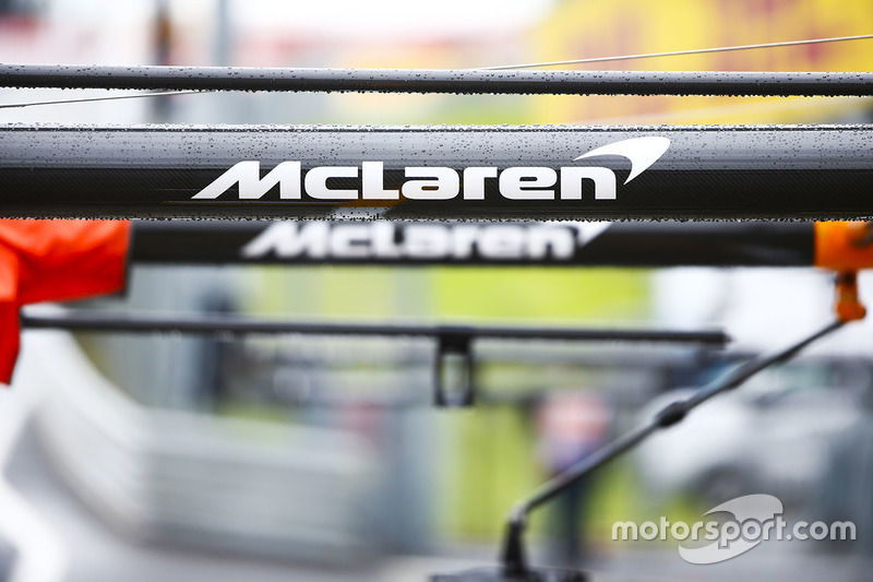 McLaren branding on the team's pit equipment