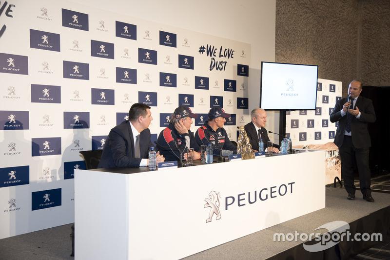 Carlos Sainz, Lucas Cruz, Peugeot Sport press conference