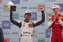 Podium: Race winner Ralf Aron, PREMA Theodore Racing Dallara F317 - Mercedes-Benz, second place Enaam Ahmed, Hitech Bullfrog GP Dallara F317 - Mercedes-Benz