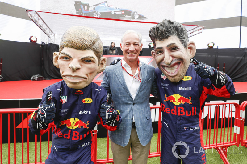 Greg Maffei, Chief Executive Officer, Liberty Media, with caricatures of Max Verstappen, Red Bull Racing, and Daniel Ricciardo, Red Bull Racing