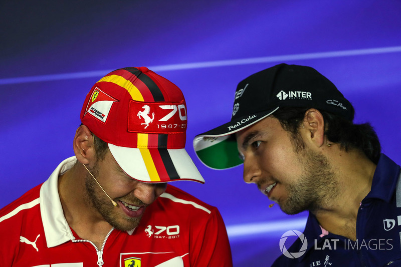 Sebastian Vettel, Ferrari and Sergio Perez, Sahara Force India in the Press Conference