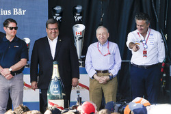 Denis Coderre, Mayor of Montreal, Jean Todt, FIA President, and Alejandro Agag, Formula E CEO, celebrate on the podium