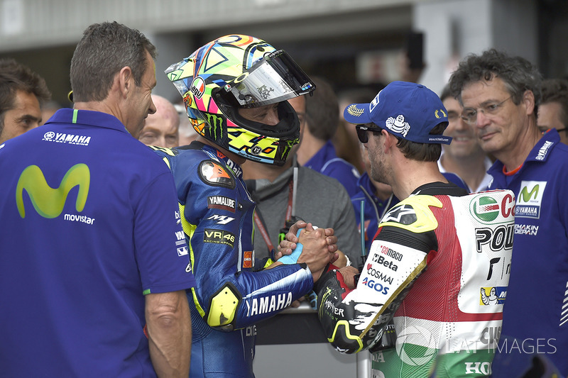 Third place qualifying for Cal Crutchlow, Team LCR Honda,second place Valentino Rossi, Yamaha Factory Racing