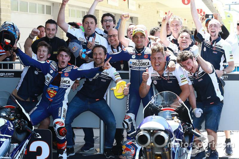 Second place Jorge Martin, Del Conca Gresini Racing Moto3, third place Fabio Di Giannantonio, Del Co