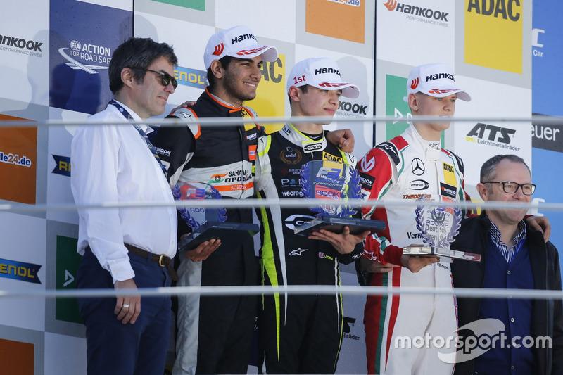 Rookie Podium: Race winner Lando Norris, Carlin Dallara F317 - Volkswagen, second place Jehan Daruvala, Carlin, Dallara F317 - Volkswagen , third place Mick Schumacher, Prema Powerteam, Dallara F317 - Mercedes-Benz
