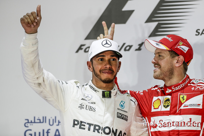 Lewis Hamilton, Mercedes AMG, et Sebastian Vettel, Ferrari
