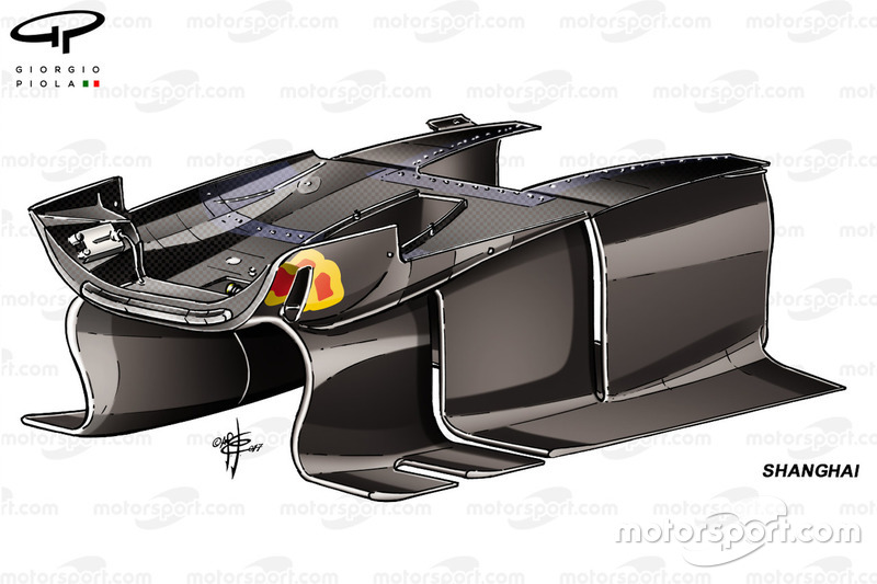 Red Bull RB13: Luftführung unter dem Chassis, GP China