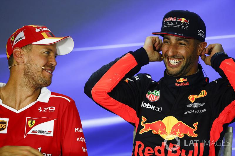 Press conference:  pole sitter Sebastian Vettel, Ferrari, third place Daniel Ricciardo, Red Bull Racing
